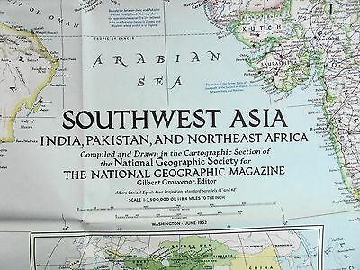 Old School Wall Map Southwest Asia India Pakistan Nth East Africa 1952 Nat. Geo