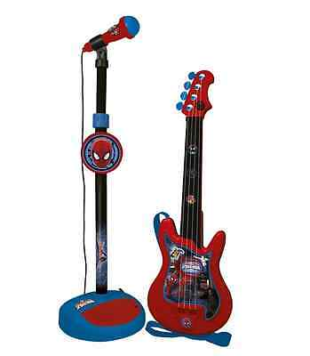 Kids spider-man guitar microphone + stand set educational musical free delivery