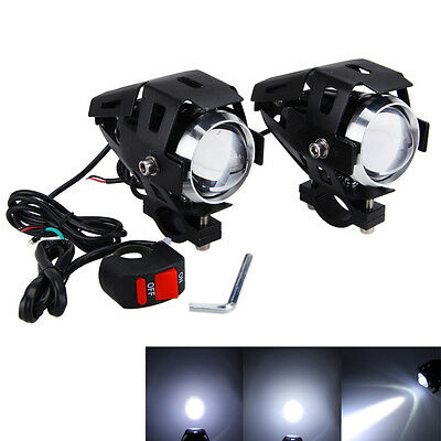 2pcs CREE 125W U5 Motorcycle LED Headlight Driving Fog Spot Light Lamp Switch