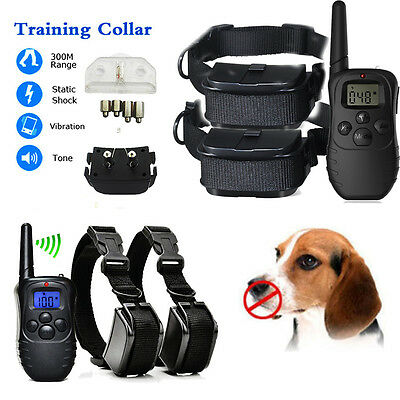Waterproof Remote LCD 100LV 300M Electric Shock Vibrate Pet Dogs Training Collar