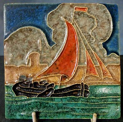 Fine Tube Lined Dutch Tile Depicting A Sailing Barge