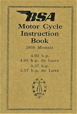 BSA Book Sloper 1930 Side Valve 4.93 5.57 De luxe Reprinted Instruction Manual