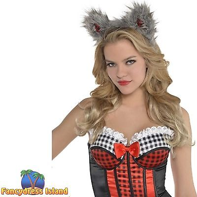 RED RIDING HOOD WOLF EARS HEADBAND - womens ladies fancy dress costume accessory