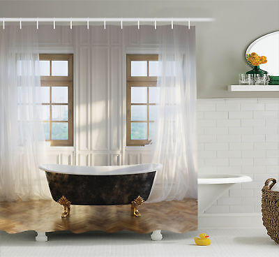 Shower Curtain Antique Decor Retro Luxury Bathtub Pattern 70 Inches Long