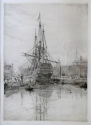 HMS Victory with submarine Portsmouth Harbour W.L Wyllie original etching RARE.