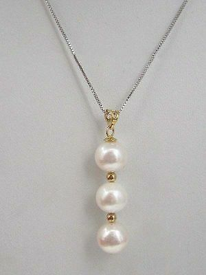 AAA round south sea natural White pearl pendant necklace 14k