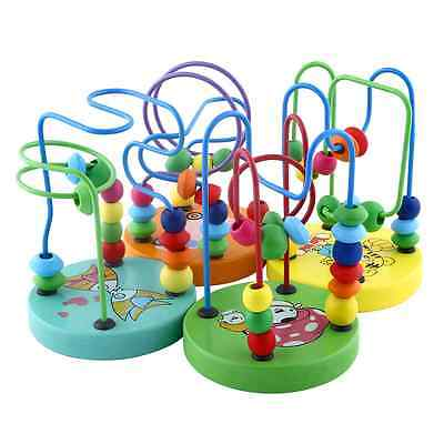 Kids Wooden Toy Mini Around Beads Wire Maze Children Learning Game Gift