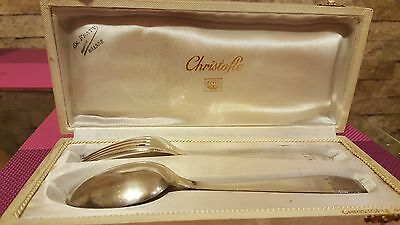 REDUCED !Christofle Boxed Christening Set, Fork & Spoon, antik original and rare