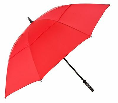 XL Anti Wind Vented Golf Umbrella - Wind Resistant Fibreglass Frame - Storm Red