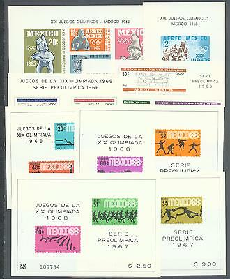 Mexico collection 1965-67 for  Mexico Olympics 8 miniature sheets