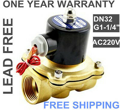 "G1-1/4"" BSPP 2W-320-32 Brass Electric Solenoid Valve Water Oil Air N/C AC 220V"