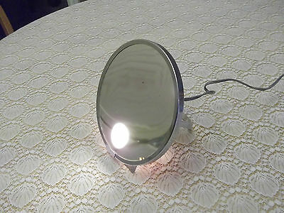 Vintage Shaving Magnified Mirror Electic Light Metal Stand Make Up