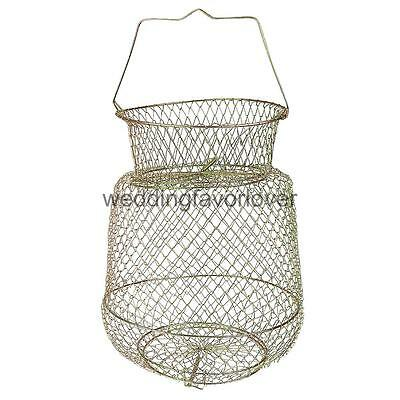 Collapsible Steel Wire Fish Basket Shrimp Crab Cage Vintage Fishing Trap