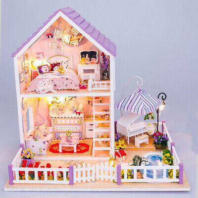 Wooden Dolls House Miniature DIY Kit Purple Villa with Light All Furnitures