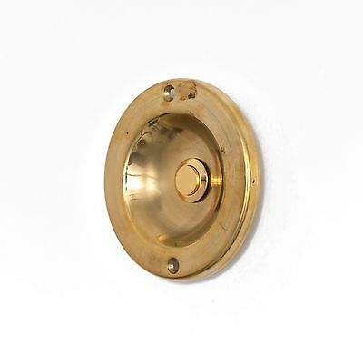 Antique Large Round Recessed Push Button Doorbell Door Bell Electric Brass Vtg