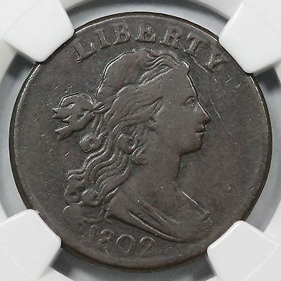"1802 s-231 NGC VF25 Draped Bust ""Stemless"" Large Cent Coin 1c"