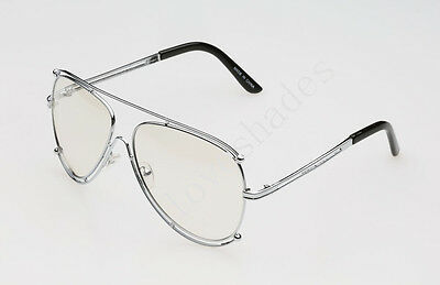 Vintage Clear Lens Classic Double Frame Silver Aviator Eye Glasses New Style Hot