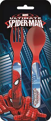 Marvel Ultimate Spider-Man 2pc Mealtime Plastic Cutlery Set | Fork and Spoon