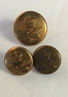 Vintage Military - RAF Royal Air Force Imperial Crown - Large & Small Buttons