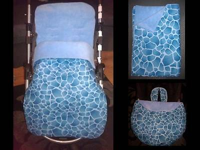 blue giraffe pram/pushchair/buggy liner or stay put blanket or carseat blanket