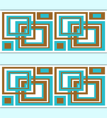 Geometric Wallpaper Border Turquoise Brown Square Wall Art Decals Stickers Decor