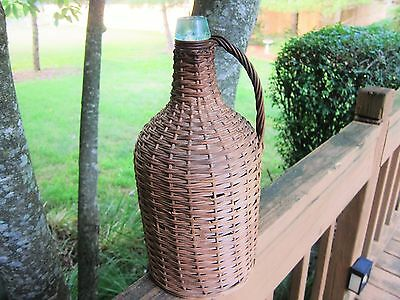Antique Demijohn Wicker Wrapped with Handle Aqua Bottle Great Condition 14.5