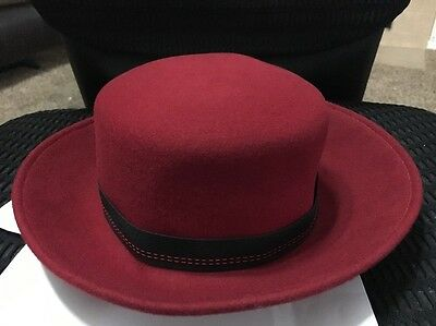 Vintage Red Wool Rolled Brim Derby By Amanda Smith - Made In Italy