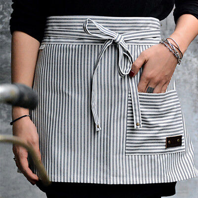 White Striped Cotton Half/Full Length Aprons Waitress Barista Chef Cafe Uniforms