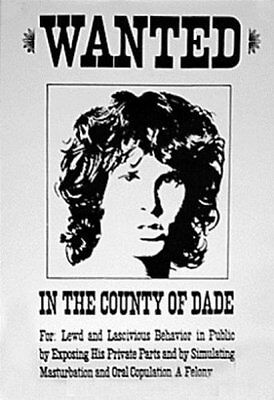 """MUSIC POSTER~Jim Morrison The Doors Wanted In Dade County Florida 24x36"""" Import"""