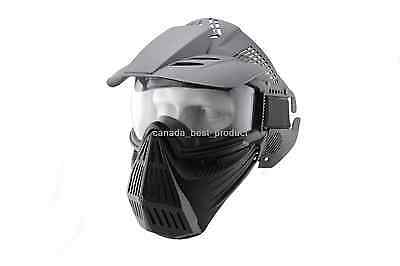 Tactical Airsoft Paintball Pro Full Face Mask with Safety Goggles Protection BK