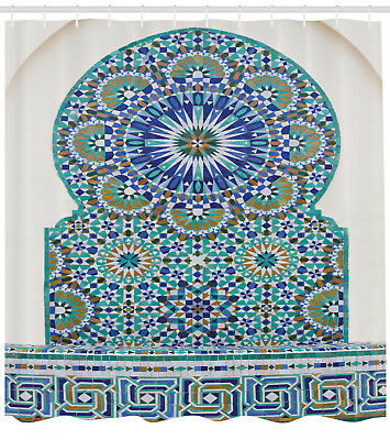 Ceramic Tiles with Eastern Pattern Moroccan Ornament Style Shower Curtain Set