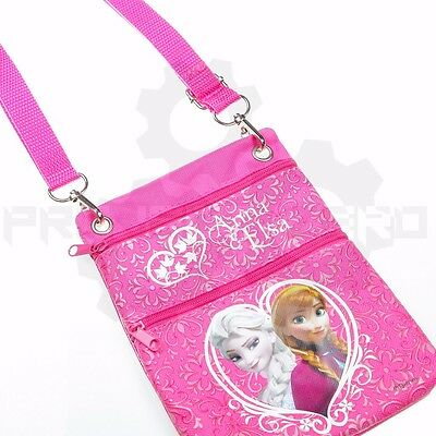 NEW Disney Frozen Anna & Elsa Pink Mini Shoulder Bag with 2 Pockets and Strap