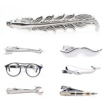 Fashion Men Feather Archor Mustache Glasses Tie Clip Necktie Tie Clip Bar Clasp
