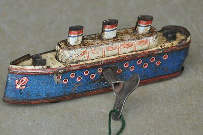Vintage Penny / Small MT Trademark Wind Up Litho Boat/Ship Tin Toy , Japan