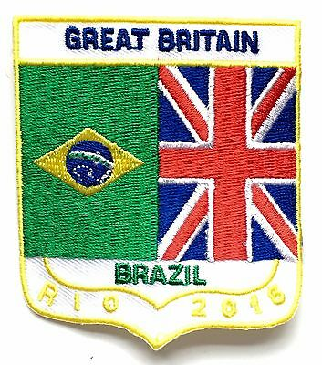 Rio Brazil / Great Britain Olympics 2016 Embroidered Patch Sew or Iron On