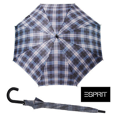 Windproof Licensed Esprit Check Blue Strong Umbrella Black Shaft Golf Brolly