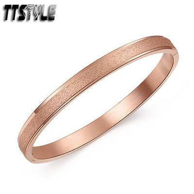Luxruy TTstyle 9K Rose Gold GP Oval Stainless Steel Bangle Cuff NEW