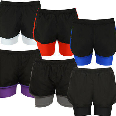 b12b99a1c89 Ladies Shorts 2 in 1 Active Wear Sports Fitness Running Gym Jogging Womens