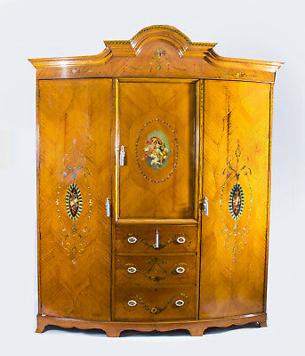 Antique English Satinwood & Painted Wardrobe c.1900