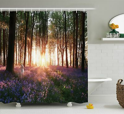 Bluebell Woods Sunrise and White Rabbit Spring in Woodland Shower Curtain Set