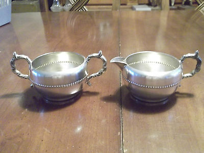 Vintage Silver Plated Cream & Sugar Bowl Shabby Chic Kitchen Dining Table