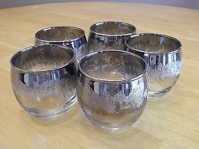 5 Vintage Roly Poly Silver Fade Glasses Dorothy Thorpe Mad Men Sparkly Embossing