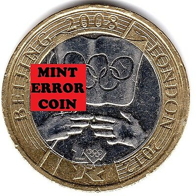 2008 £2 * ERROR MULE * OLYMPIC GAMES HANDOVER BEIJING TWO POUND COIN 16/32 2 a