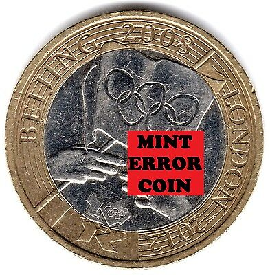 2008 £2 * ERROR MULE * OLYMPIC GAMES HANDOVER BEIJING TWO POUND COIN 16/32 2 b