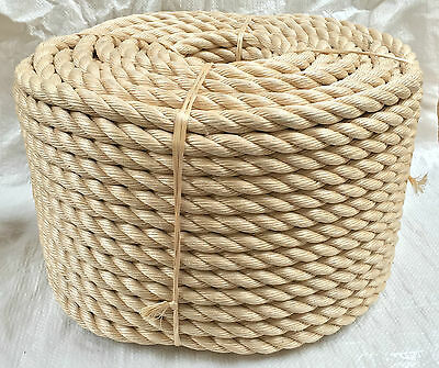 28mm x 50mts Rope - Synthetic Sisal, Sisal, For Decking, Garden & Boating,