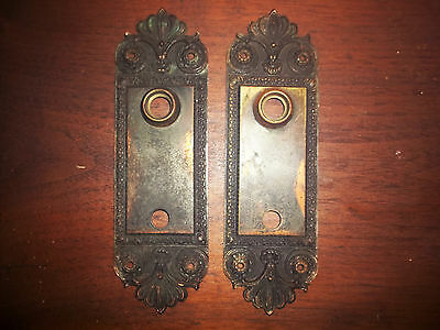 "2 Antique Cast Brass Bronze Door Backplates Victorian Art Nouveau 2 1/2"" x 8 1/8"
