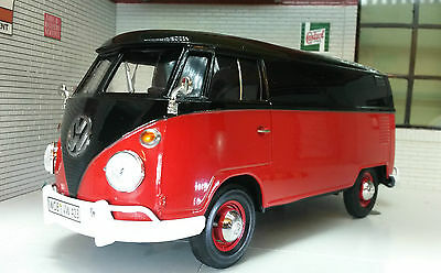 G LGB 1:24 Scale VW T1 Type 2 Black/Red Delivery Diecast Model Van 1962 79342