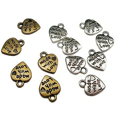 Fabulous 50Pcs Silver/Gold Plated MADE WITH LOVE Heart Beads Charms Pendants JDI