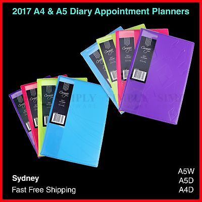 2017 Diary Planner Diaries Appointment Embossed Neon - A4 A5 Day To A Page Week
