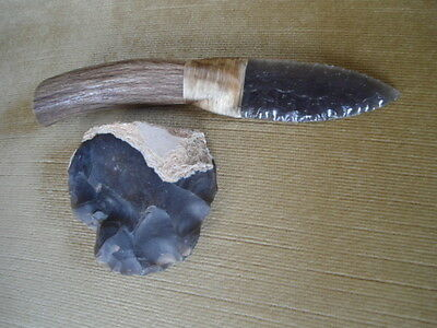 Obsidian knife and neolithic hand axe